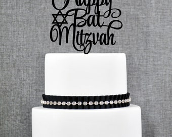 Happy Bat Mitzvah Cake Topper, Elegant Bat Mitzvah Topper, Mitzvah Cake Topper, Jewish Celebration Topper- (T243)