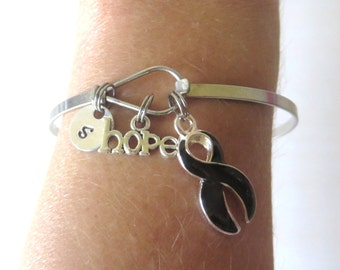 Black LOVE HOPE Customizable Awareness Charm Stainless Steel Bangle Bracelet With Optional Love Hope and Letter Charm