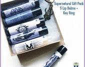 Supernatural inspired Gift Set 5 Lip Balms w Keychain (Winchester, Nerd, Geekery, Fandom, Supernatural Cosmetics, Dean Amulet, Citrus)