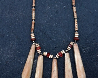 Tribal Bone Statement Necklace  LV-#62