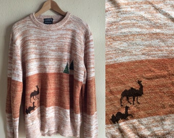 EGYPTIAN CAMELS and Pyramids Cellini Knits Vintage 70s Rust Brown & White Striped Pullover Novelty Sweater. L