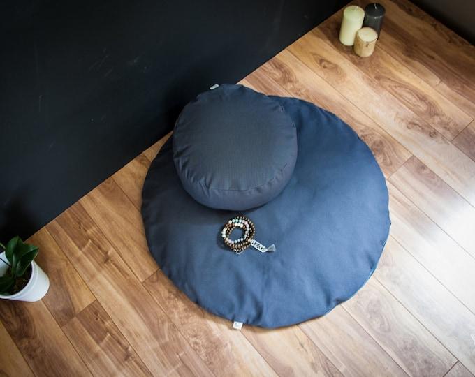 Meditation sit set Zafu Zabuton combo Dark Gray Plain cushion mat organic Buckwheat pillow handmade by Creations Mariposa EM-GU