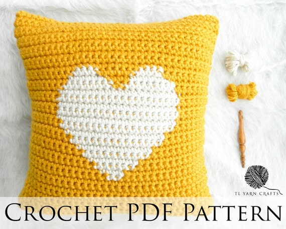 Diy Crochet Throw Pillow : One Heart Pillow Crochet Throw Pillow Pattern Knit Heart