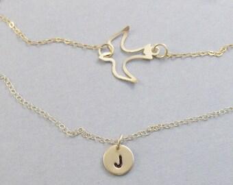 Golden Layered Sparrow,Bird Necklace,Bird Jewelry,Bird in handmade,Sparrow Necklace,Sparrow Jewelry,Gold Bird,Gold Necklace,SeaMaidenJewelry