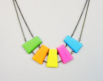 Yellow, Orange, Green, Pink and Blue Wooden Necklace, Wooden Tribal Necklace, Bold Necklace, Boho Necklace, Colorful Necklace