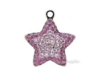 167422 VIOLET & LIGHT AMETHYST Swarovski Crystal Pave Star Pendant Charm 14mm
