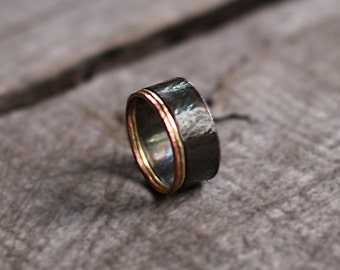 Silver Ring size 6 Forged Silver Copper Brass Ring, Delicate Silver Band, Rustic Ring, Sterling Silver Handcrafted Ring, Stacking Rings
