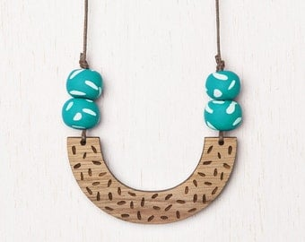 Delta - Geometric Confetti Wood Necklace with Polymer Clay beads - aqua - laser cut