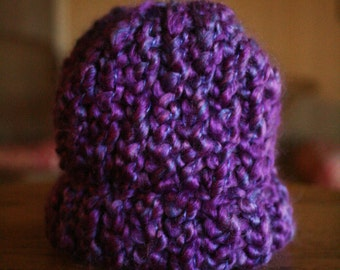 Royal Purple Loom Knit Preemie Beanie Hat