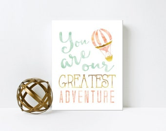 Nursery Art, You are our Greatest Adventure, Hot Air Balloon, Water Color, Framed, Canvas, Art Print #511