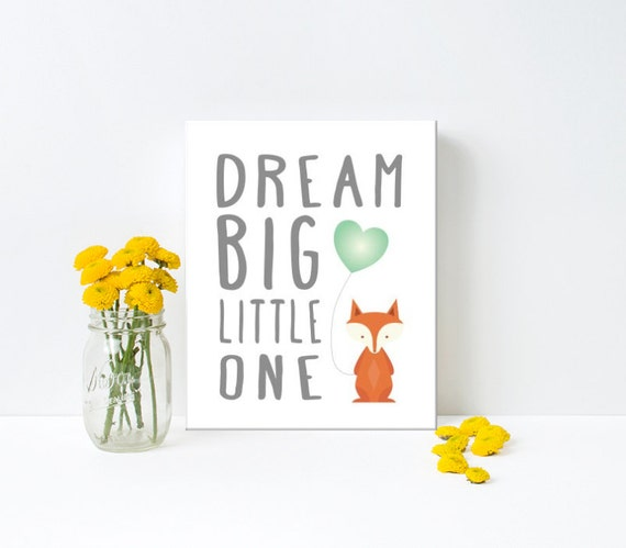 Nursery Art, Dream Big Little One, Fox, Teal, Balloon, Framed, Canvas, Art Print #256