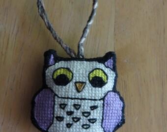 Whimsical Fantasy Owl Charm, (Purple Wings, Green Spots) by DaraCreek