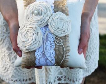 """Ring Bearer Pillow, Rustic Ring Bearer, Rustic Ring Bearer Pillow, 8"""" x 8"""", Burlap Ring Bearer, Shabby Chic Ring Bearer, Rustic Flower Girl"""
