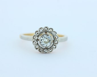 Yellow and White Gold Diamond Flower Ring