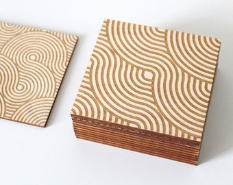 Ribbon Coasters, 4 Coaster Set | Wood Coasters - Laser Engraved - Laser Cut - Geometric Coaster - Birch Coaster - Drink Coaster