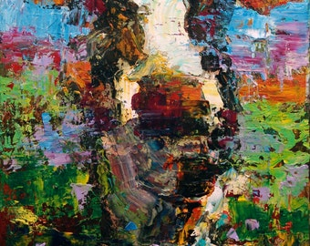 Cow Painting  Modern Painting of Cow 16 x 20, Farm Painting Original Cow Art on Canvas Contemporary Painting