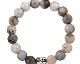 Buddha Head Bead Bracelet in Gray Bamboo Agate