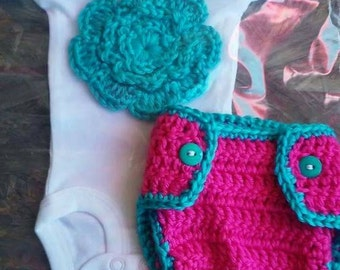 Crochet newborn baby girl flower diaper cover set, 3pc crochet flower headband set, flower onesie, newborn photo prop, newborn photography
