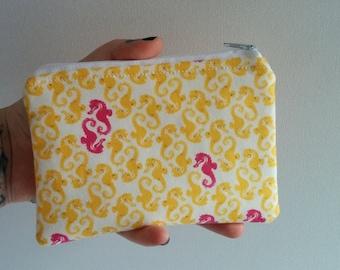 Seahorses Mini (Small Makeup Bag, Cloth Snack Bag, Zip Case)