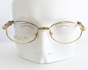 Gold and wood eyewear, Gold & silver plated glasses, Brown bamboo wood temple arms, Vintage dead stock eyeglasses, Woodline eyewear