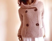 Women's Hand Knit Hooded Jacket Coat Hand Knit Sweater with Pockets Many colors available