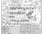 Coloring Page to Relax, calm and delightful pages to color, Winter holiday