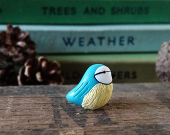 By the Shed Blue Tit Bird Pin Badge - Lapel Badge - Tie Pin - Garden Birds - Fruit - Allotment - Bird Watching - Garden Gift - Quirky - Gift