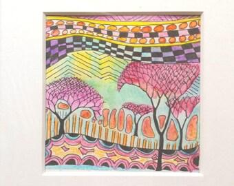 Abstract Watercolor Painting Landscape Thumbnail Original