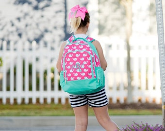 Monogrammed Whales Book Bag