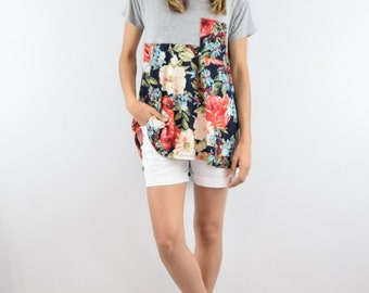 Floral pocket two block tunic S to XL