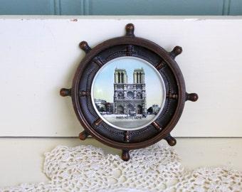 Vintage Paris Souvenir Notre Dame France Ship Wheel