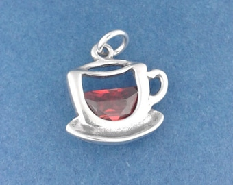 Coffee CUP Charm .925 Sterling Silver, Crystal Cappuccino, Barista, Tea Pendant - d44629