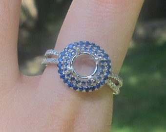 Sapphire and Diamond Engagement Ring Semi Mount, Double Sapphire Halo Setting