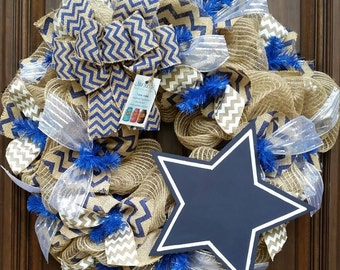 Dallas Cowboys Football Wreath, Fall Wreath, Cowboys Wreath, Dallas Cowboys Decor