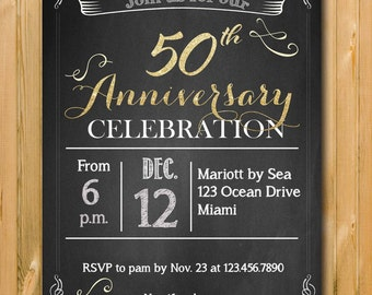 50 Anniversary invite, 50th anniversary invitations, anniversary party invitation, custom invite, Printables, DIY