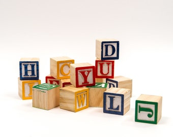 Wooden Alphabet Blocks | Alphabet Blocks | Toy Wood Blocks| ABC Blocks