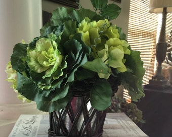 Floral Arrangement - Ornamental Kale and Hydrangea