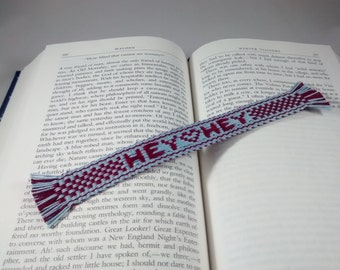 Bookmark - Handwoven inkle band with a message - HEY HEY Valentine Conversation Heart