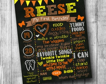 First Birthday Chalkboard Poster Customized 1st Birthday Chalkboard Custom Printable Sign Polka Dot Orange Brown Yellow Fall Autumn Theme