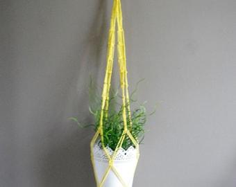 Yellow Boho style macramé pot hanger #2