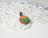 Hand painted wooden pendant, green yellow orange pendant, unique natural wood pendant in gift box, reclaimed wood jewelry