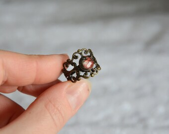 Hand painted gem lace ring, antique filigree lace ring, adjustable size bras ring, black red ring, mystical ring, unique gift for her