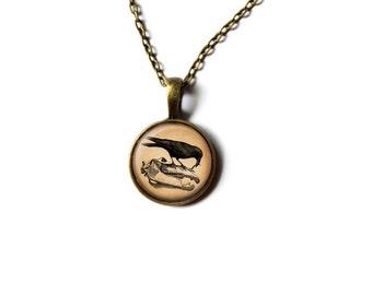 Raven pendant Bird necklace Animal jewelry NWR286