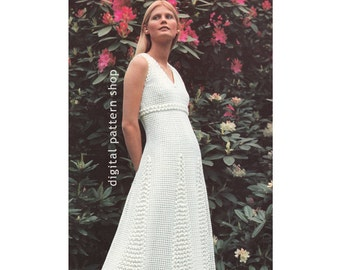 Crochet Dress Pattern Vintage Maxi Dress Empire, Flared Dress Crochet Pattern PDF Instant Download Size 8 to 16- C48