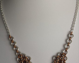 Japanese chain maille necklace with Bronze