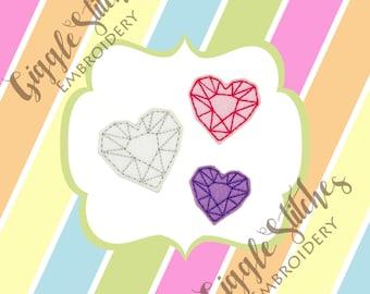Heart Jewel Feltie Embroidery Design