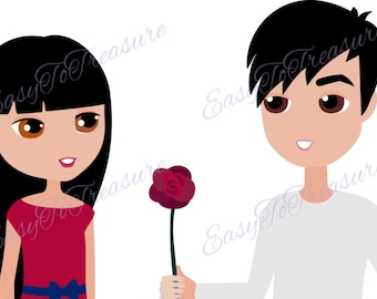 Digital Download Clipart – Valentine Clipart Young Couple with Rose JPEG and PNG files