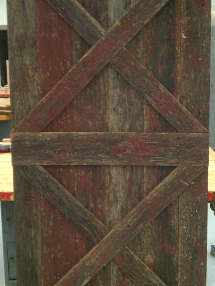 Double X Sliding Barn Wood Door Reclaimed Wood Rustic