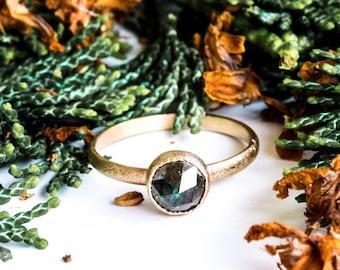 Rose cut diamond gold engagement ring, teal diamond engagement ring, yellow gold engagement, promise ring