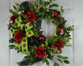Ladybug Front Door Wreath - Summer Door Wreath - Outdoor Wreaths - Summer Grapevine Wreath - Summer Front Door Wreath - Ladybug Wreaths